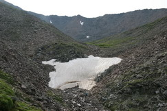 The crossing and glacier under it